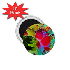 Floral Abstract 1 1.75  Button Magnet (10 pack)