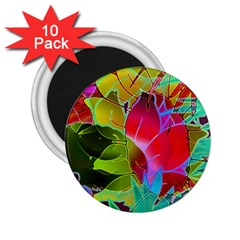 Floral Abstract 1 2 25  Button Magnet (10 Pack)