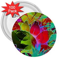 Floral Abstract 1 3  Button (100 pack)