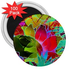 Floral Abstract 1 3  Button Magnet (100 pack)