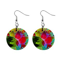 Floral Abstract 1 Mini Button Earrings