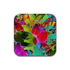 Floral Abstract 1 Drink Coaster (Square)