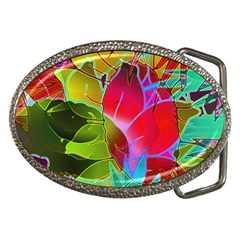 Floral Abstract 1 Belt Buckle (Oval)