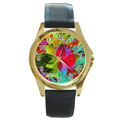 Floral Abstract 1 Round Leather Watch (Gold Rim)