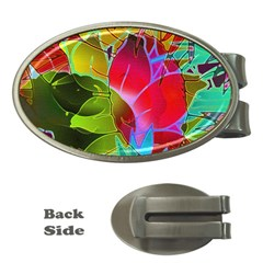 Floral Abstract 1 Money Clip (Oval)
