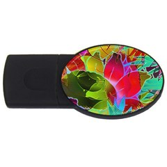 Floral Abstract 1 2GB USB Flash Drive (Oval)