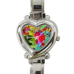 Floral Abstract 1 Heart Italian Charm Watch