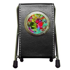 Floral Abstract 1 Stationery Holder Clock