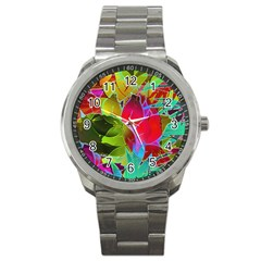 Floral Abstract 1 Sport Metal Watch