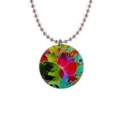 Floral Abstract 1 Button Necklace