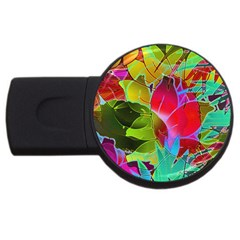 Floral Abstract 1 4gb Usb Flash Drive (round)