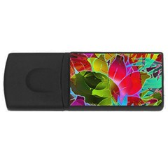Floral Abstract 1 4gb Usb Flash Drive (rectangle)