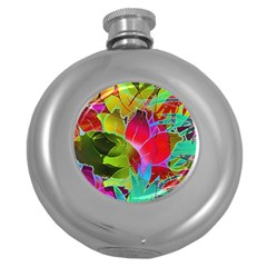 Floral Abstract 1 Hip Flask (Round)