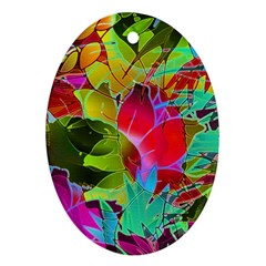 Floral Abstract 1 Oval Ornament (Two Sides)