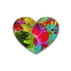 Floral Abstract 1 Drink Coasters (heart)