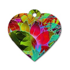 Floral Abstract 1 Dog Tag Heart (two Sided)