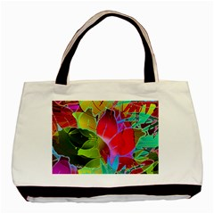 Floral Abstract 1 Twin-sided Black Tote Bag