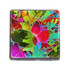 Floral Abstract 1 Memory Card Reader with Storage (Square)