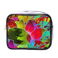 Floral Abstract 1 Mini Travel Toiletry Bag (one Side)
