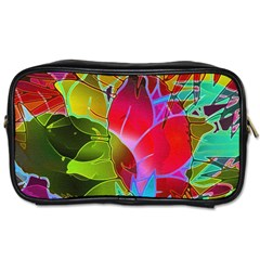 Floral Abstract 1 Travel Toiletry Bag (Two Sides)