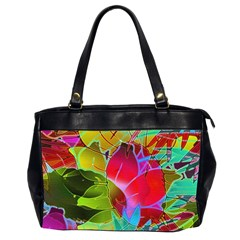 Floral Abstract 1 Oversize Office Handbag (Two Sides)