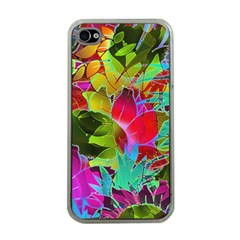 Floral Abstract 1 Apple iPhone 4 Case (Clear)