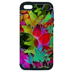 Floral Abstract 1 Apple Iphone 5 Hardshell Case (pc+silicone)