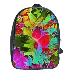 Floral Abstract 1 School Bag (xl)