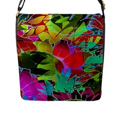 Floral Abstract 1 Flap Closure Messenger Bag (Large)