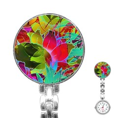 Floral Abstract 1 Stainless Steel Nurses Watch