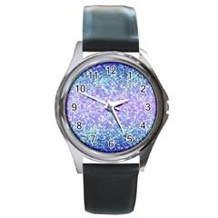 Glitter2 Round Leather Watch (silver Rim)