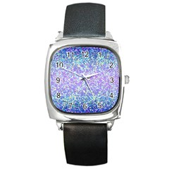 Glitter2 Square Leather Watch