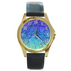 Grunge Art Abstract G57 Round Gold Metal Watch