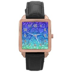 Grunge Art Abstract G57 Rose Gold Leather Watch