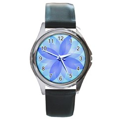 Abstract Lotus Flower 1 Round Leather Watch (Silver Rim)