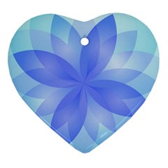 Abstract Lotus Flower 1 Heart Ornament