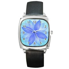 Abstract Lotus Flower 1 Square Leather Watch