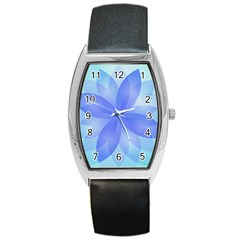 Abstract Lotus Flower 1 Tonneau Leather Watch