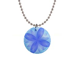 Abstract Lotus Flower 1 Button Necklace