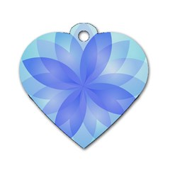 Abstract Lotus Flower 1 Dog Tag Heart (One Sided)
