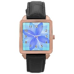 Abstract Lotus Flower 1 Rose Gold Leather Watch