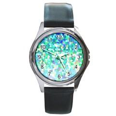 Mosaic Sparkley 1 Round Leather Watch (Silver Rim)