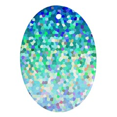 Mosaic Sparkley 1 Oval Ornament (two Sides)