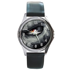 swatch_by_Imko Round Leather Watch (Silver Rim)