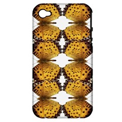 Butterfly Art Tan&black Apple Iphone 4/4s Hardshell Case (pc+silicone)