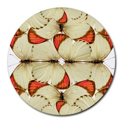 Butterfly Art White&orage 8  Mouse Pad (Round)