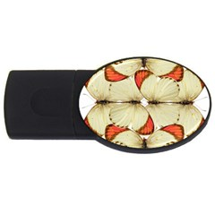 Butterfly Art White&orage 2gb Usb Flash Drive (oval)