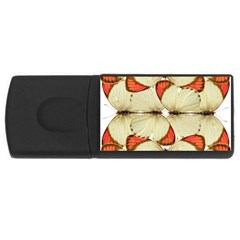 Butterfly Art White&orage 4gb Usb Flash Drive (rectangle)