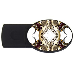 Butterfly Art Ivory&brown 2gb Usb Flash Drive (oval)