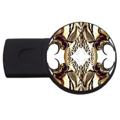 Butterfly Art Ivory&brown 4GB USB Flash Drive (Round)